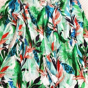 Off-the-shoulder Tropical Romper